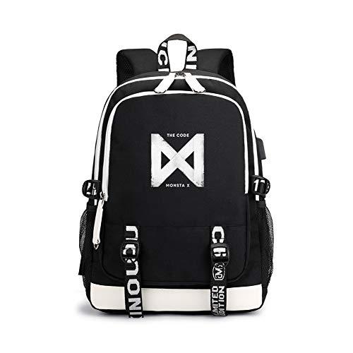 Monsta X Daypacks Leichte, einfache Art und Weise Rucksack große Kapazität Rucksack Computer Tasche Unisex (Color : Black12, Size : 30 X 15 X 43cm) - Leichte Computer-rucksack