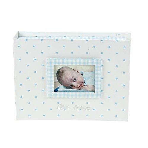 Scatola porta gioie blu pastello con foto in copertina e kit stampo in gesso regalo per bambino