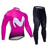 Heren en Dames Fietsshirt met Lange Mouwen, Ademende MTB-Fietskleding voor Buiten met 9D Gelpad (Kleur : A, Grootte : S)