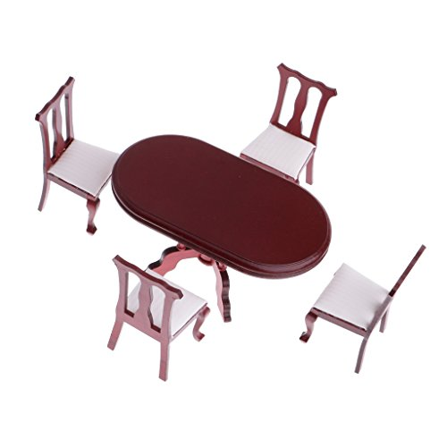 MagiDeal 1/12th Dollhouse Miniature Furniture Dining Room Rosewood Table Chairs Set