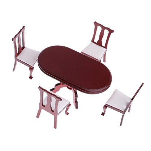 MagiDeal 1/12 Puppenhaus Esszimmermöbel Set - 1 Esstisch + 4 Stühlen