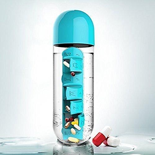 Inditradition 2 In 1 Daily Medicine Organizer Cum Water Bottle, Plastic, 600 ml, Random Colors