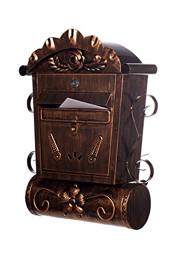 Antiker großer und sehr edler Briefkasten LB6028 Bronze Wandbriefkasten, Briefkasten, Nostalgischer Englischer Briefkasten Metall 49 cm hoch . Mit separatem Zeitungsrohr. Mit Befestigungsmaterial für die Wand. mit 2 Schlüsseln , Rostfrei - 2