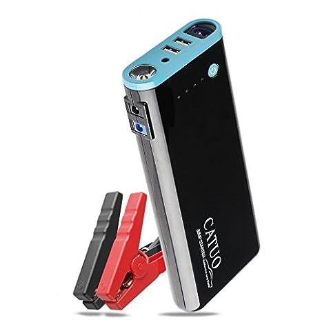 Jump Starter Démarrage de Voiture Portable CATUO 800A Peak 20000mAh Booster Démarreur Batterie Détecteur Multifonction avec Pinces Intelligents Résistant à Haute Température (20000)