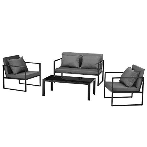 [casa.pro] Sitzgruppe Schwarz/Dunkelgrau Gartenmöbel Set Gartenstühle Garten Sofa Lounge -