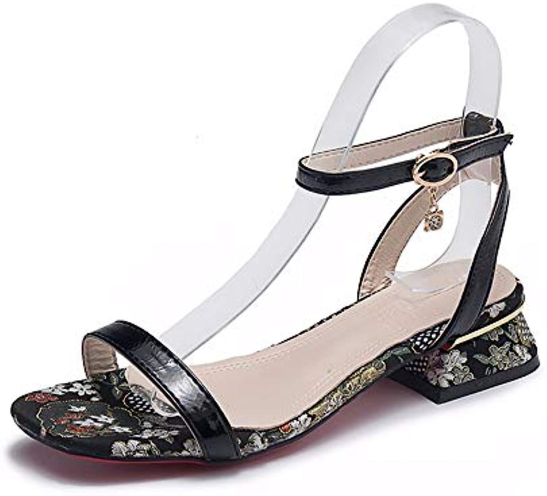 LYSLOLI sandali sandali sandali da donna con scarpe da donna con tacco basso sandali, Nero, 37 | Louis, in dettaglio  | Uomini/Donna Scarpa  1a9513