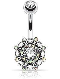 Kultpiercing–Piercing nombril Bijoux Barbell Vintage vertébrale acier chirurgical Argent Zircone Cubique Transparent Aurora