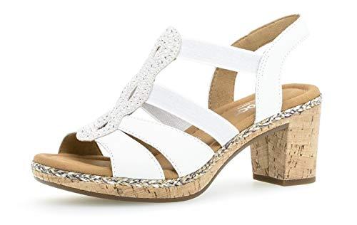 Gabor Damen Sandaletten 22.774.50, Frauen Sandaletten,Sommerschuhe,offene Absatzschuhe,hoher Absatz,Weiss(Kork/Flecht),39 EU / 6 UK -