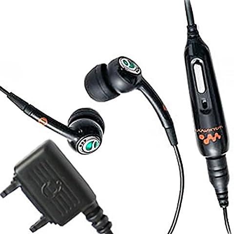 Original Sony Ericsson Handy InEar Stereo Headset in Schwarz mit Anrufannahme und Mikrofon für Sony Ericsson Fast Port