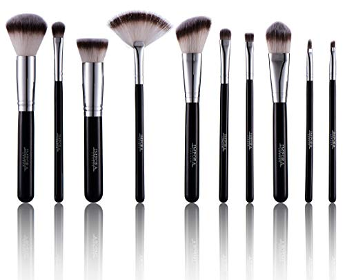 Make-up Pinsel-Set - Puderpinsel, abgewinkelte Kontur, Kabuki, Lidschattenmischung,...