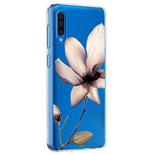 Riyeri Hülle Compatible with Samsung Galaxy A50 Hülle Transparent Fit TPU Silikon Bumper Handyhülle für Samsung A50 Cell Phone - Blume (A50, 12) 12 Display-taste