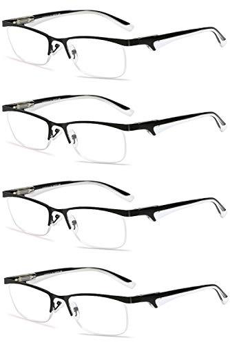5 Dioptrien Glas-linse (VEVESMUNDO® Lesebrillen Herren Damen Metall Klassische Federn-Scharnier HalbBrille Lesehilfe Augenoptik Arbeitsplatzbrille 1.0 1.5 2.0 2.5 3.0 3.5 4.0 (4 Stück Lesebrillen Schwarz und Weiß, 3.0))
