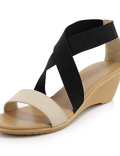 UWSZZ IL Sandali eleganti comfort Scarpe Donna-Sandali-Casual-Zeppe-Zeppa-Sintetico / Nappa Leather-Bianco / Tessuto almond White