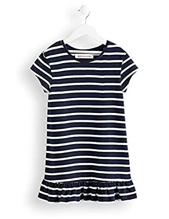 RED WAGON Robe Marinière Fille, Multicolore (Off-white And Navy), 104 (Taille fabricant: 4)