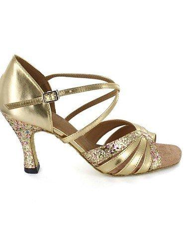 ShangYi sandales femmes latines mousseux paillettes talon aiguille Buckie chaussures de danse Gold