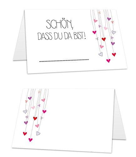 """25 premium Tischkarten (8,5 cm x 5,5 cm) weiß mit Herzen und Aufdruck\""""Schön, dass du da bist!\"""" zum selbst beschriften, Platzkarten ideal für Hochzeit oder Geburtstagsfeier"""