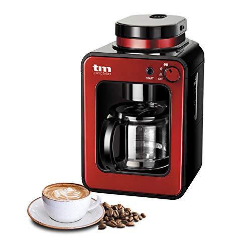 TM Electron TMPCF020R Mini cafetera de Goteo con Molinillo Grano, 4 Tazas, 600W y Filtro Lavable Compatible con café molido, 600 W, Rojo