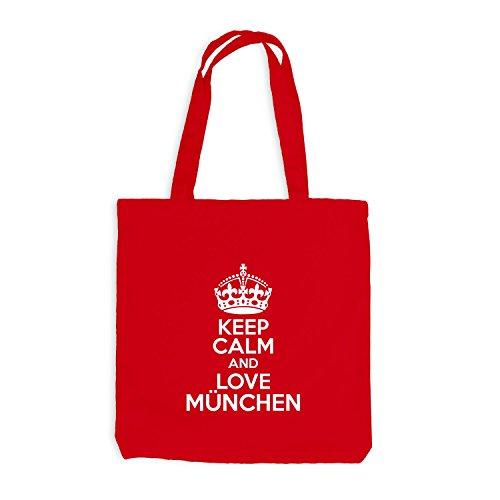 Iuta sacchetto–Keep Calm And Love München–Nostalgia idea regalo Germania Rot
