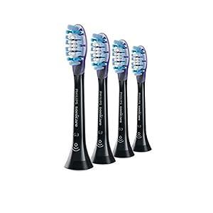 Philips Sonicare Original Aufsteckbürste Premium GumCare HX9054/33, 7x gesünderes Zahnfleisch, RFID-Chip, 4er Pack, Standard, Schwarz