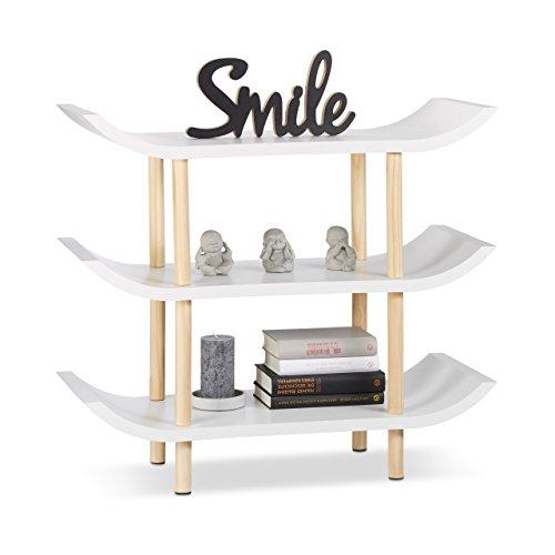 Relaxdays Standregal mit 3 Ebenen, Dekoregal mit Asiatischem Flair, 4-Füßiges Holzregal, Holzdekor, Weiß, 71 x 83 x 32 cm (Asiatisches Bücherregal)