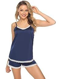 b1661d0b6c Hawiton Pijama Mujer Verano Corto Conjunto de Pijamas Pantalones Manga  Corto Camison y Kimonos Saten 2