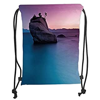 Drawstring Backpacks Bags,Nature,Bonsai Rock in Lake Tahoe Tropical Surreal Scenery Exotic Vivid Colors Artwork,Purple Grey Blue Soft Satin,5 Liter Capacity,Adjustable String Closu