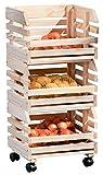 H24living Küchenwagen Früchtehorde Küche Rollwagen Regal Allzweckwagen mit 3 Ablagen, aus Massivholz auf Rollen klein