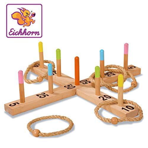Eichhorn 100004505 - Outdoor Ringwurfspiel - 50x50cm mit 5 Wurfringen, 1 Kreuz, 9 Spielstäben, aus Kiefernholz