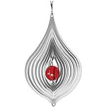 Inox Jeu du vent - GOUTTES - réfléchissant la lumière - Dimension: 10,5x17cm, Bille: O3cm - incl. Suspension