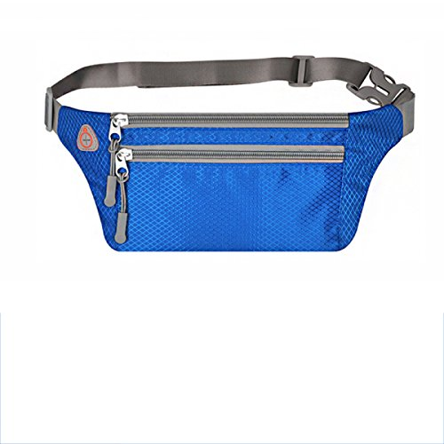 GXYLLDS Waist Pack Sport Running Fitness Viajes Música Impermeable Seguridad Noche Reflectante Bolsa De Teléfono Móvil Hombres Y Mujeres Correa Para Correr,Blue-OneSize