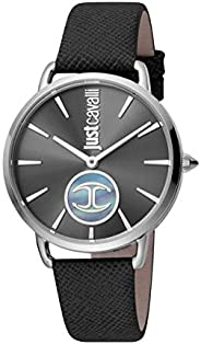 Just Cavalli Logo Women's Black Dial Leather Analog Watch - JC1L117L