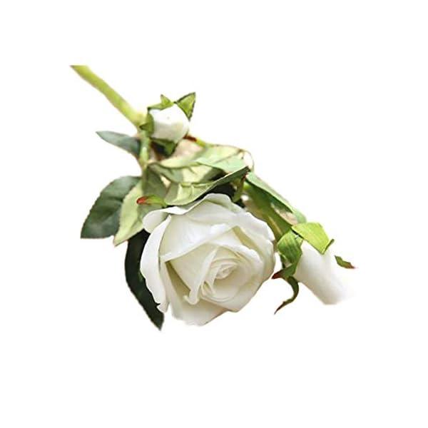 Nikgic Flor de simulación de Franela Acacia Rosa para el hogar, la Oficina o Las Bodas Regalo del Dia de la Madre Blanco