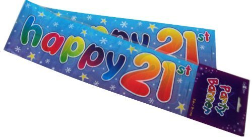 Happy 21st Birthday Party Wall Banner 3 Blue Banners Age 21 Party Decoration by The fancy dress and party store