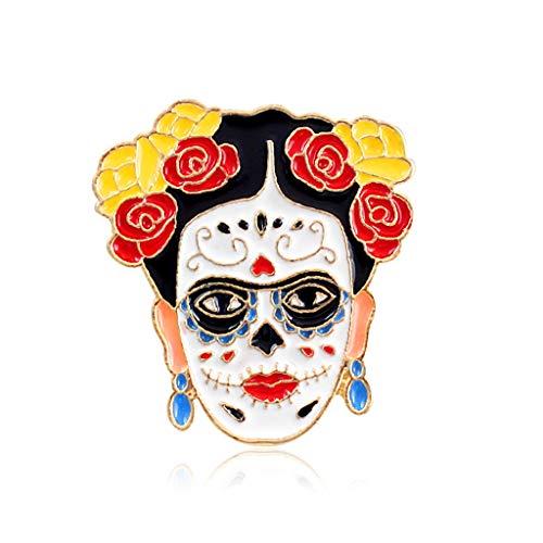 Lagand Artist Frida Kahlo Brosche mit Totenkopf-Herz, Halloween-Modeschmuck