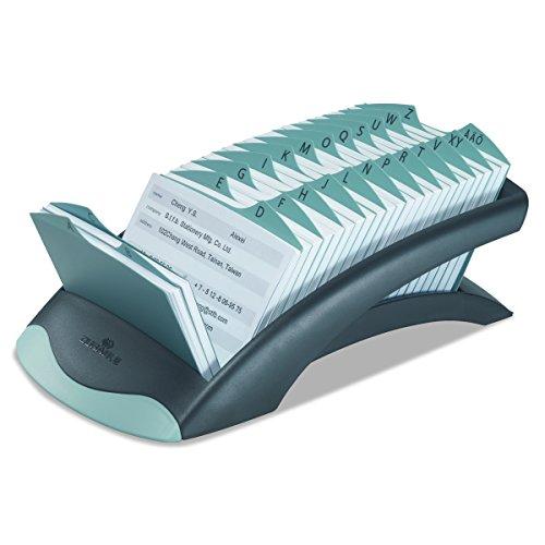 DURABLE 241201 - Telindex Desk Vegas, schedario da scrivania per rubrica, 500 schede, indice alfabetico 25 tasti, 131x67x245 mm, nero