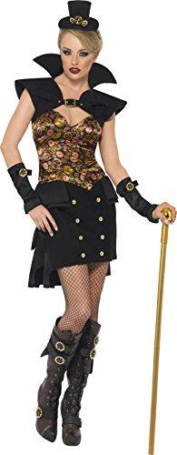 Smiffys, Fever, Damen Sexy Steam Punk Vampir Kostüm, Kleid mit Kragen und Hut, Größe: S, 28708 (Victorian Vampira Kostüm)