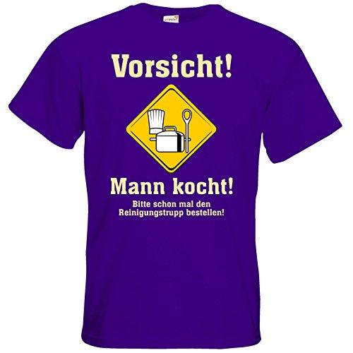 getshirts - RAHMENLOS® Geschenke - T-Shirt - Mann kocht - Bitte schon mal den Reinigungstrupp bestellen Purple