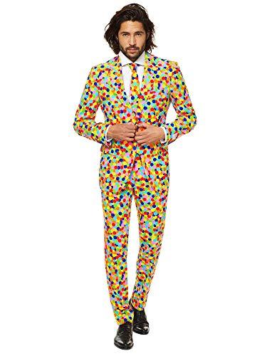 OppoSuits Karnevalskostüme Herren festlichem Druck Anzug mit Krawatte, Confetteroni, 52