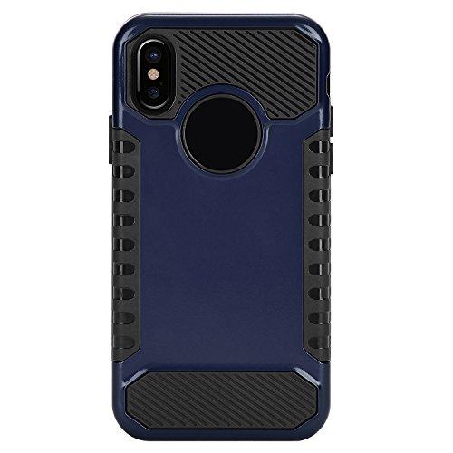 TOROTON 2 Pezzi Pellicola Vetro Temperato Per Apple iPhone X, Vetro Temperato Infrangibile HD Trasparenza Film Proteggi Schermo Screen Protector Resisitente Blu Scuro + Nero