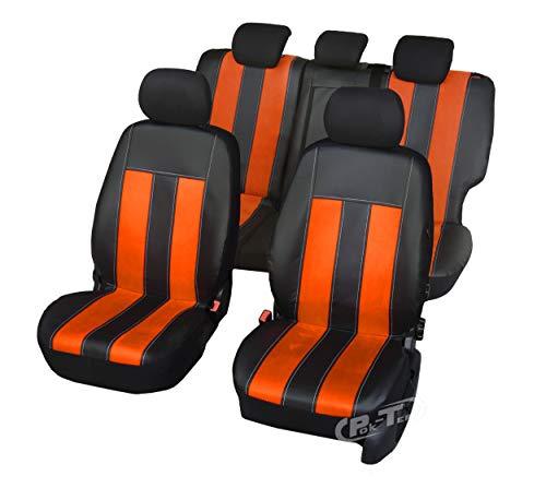 Universell Sitzbezüge GT Puls kompatibel mit Ford Fiesta Farbe Schwarz-Orange komplettes Set von Bezügen