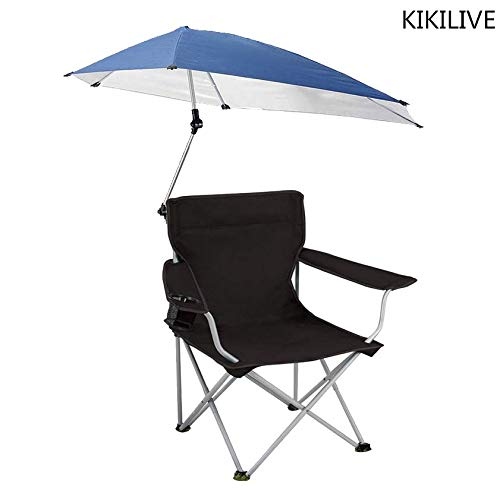 KIKILIVE Sonnenschirm Stuhl,Justierbarer Überdachungs-faltender Lagerstuhl, tragbarer im Freienklappstuhl mit abnehmbarem Regenschirm, für das Kampieren im Freien, Fischenstuhl