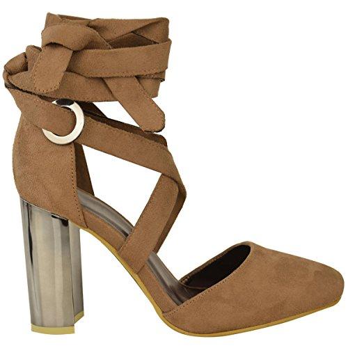 NUOVO da donna tacco largo alto caviglia CRAVATTA scialle punta chiusa Sandali con cinturino taglia Moca Marrone Camoscio Sintetico