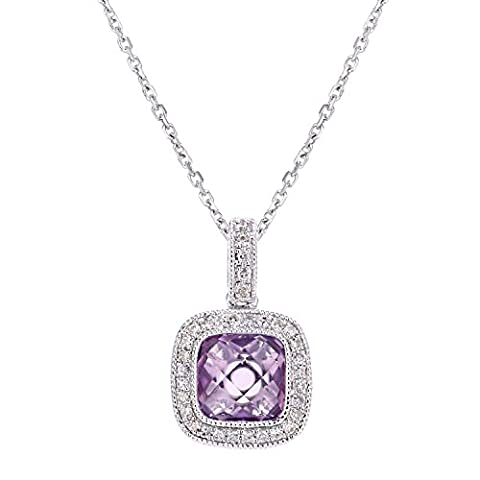Naava Femme 9 carats (375/1000) Or blanc Coussin Violet Amethyst