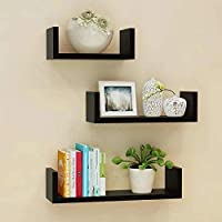 Inception Global U Shape Wall Shelf/Rack/Shelves for Living Room/Home/Kitchen/Book for Home Decor Set of 3 (Brown/Walnut…