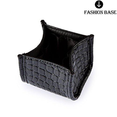 Fashion Base® Schwarz Faux Krokodil Haut Make-up Pinselhalter Kosmetik Fall Make-Up-Pinsel Set Bag Kosmetik Beauty (Up Schwarze Base Make)