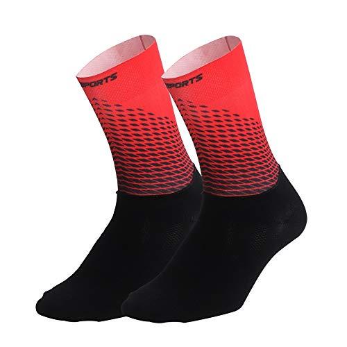 LIZHIOO 2019 New Radsocken Männer Frauen-Straßen-Fahrrad-Socken Außenwerbung Marke Rennrad Compression Sportsocken Calcetines Ciclismo (Color : Rot, Size : S(EU 35 to 39))