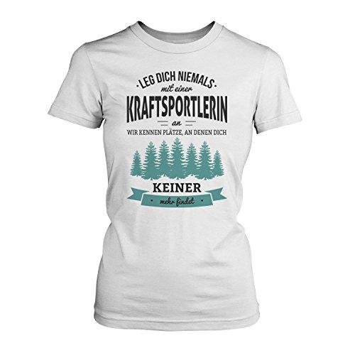 Fashionalarm Damen T-Shirt - Leg dich niemals mit einer Kraftsportlerin an | Fun Shirt mit Spruch als Geschenk Idee für Sportlerinnen, Farbe:weiß;Größe:S