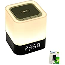Altavoz Portátil Bluetooth + LED Luz de noche, con visualización LED, Altavoz manos libres, Reloj despertador, Micro tarjeta SD y USB y AUX ranuras para Móvil inteligente, MP3, iPad, la tableta y más (12 hrs hora del recreo)
