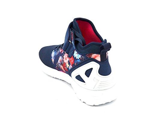 SHY21 * Baskets Montantes Running Sneakers Tissu Effet Filet et Imprimé Fleuri avec Semelle Blanche - Mode Femme Bleu Marine