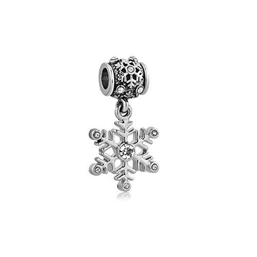 - 41hvWs4giyL - Uniqueen Jewellery Christmas Snowflake Birthstone Charms Fit Charm Bracelets